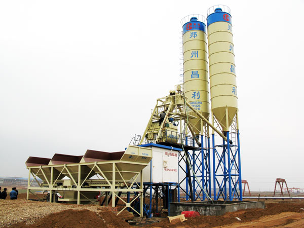 HZS75 ready mix stationary concrete batching plant